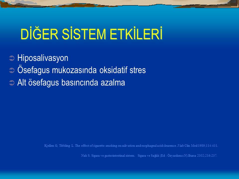 DİĞER SİSTEM ETKİLERİ  Hiposalivasyon  Ösefagus mukozasında oksidatif stres  Alt ösefagus basıncında azalma Kjellen G, Tibbling L. The effect of ci