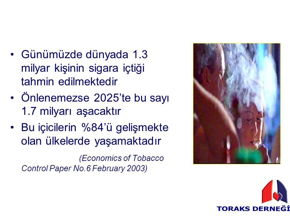 Günümüzde dünyada 1.3 milyar kişinin sigara içtiği tahmin edilmektedir Önlenemezse 2025'te bu sayı 1.7 milyarı aşacaktır Bu içicilerin %84'ü gelişmekt