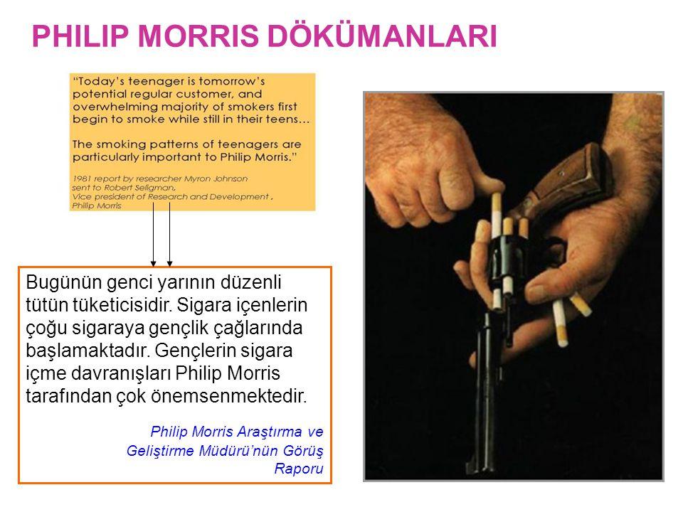 PHILIP MORRIS DÖKÜMANLARI Bugünün genci yarının düzenli tütün tüketicisidir. Sigara içenlerin çoğu sigaraya gençlik çağlarında başlamaktadır. Gençleri