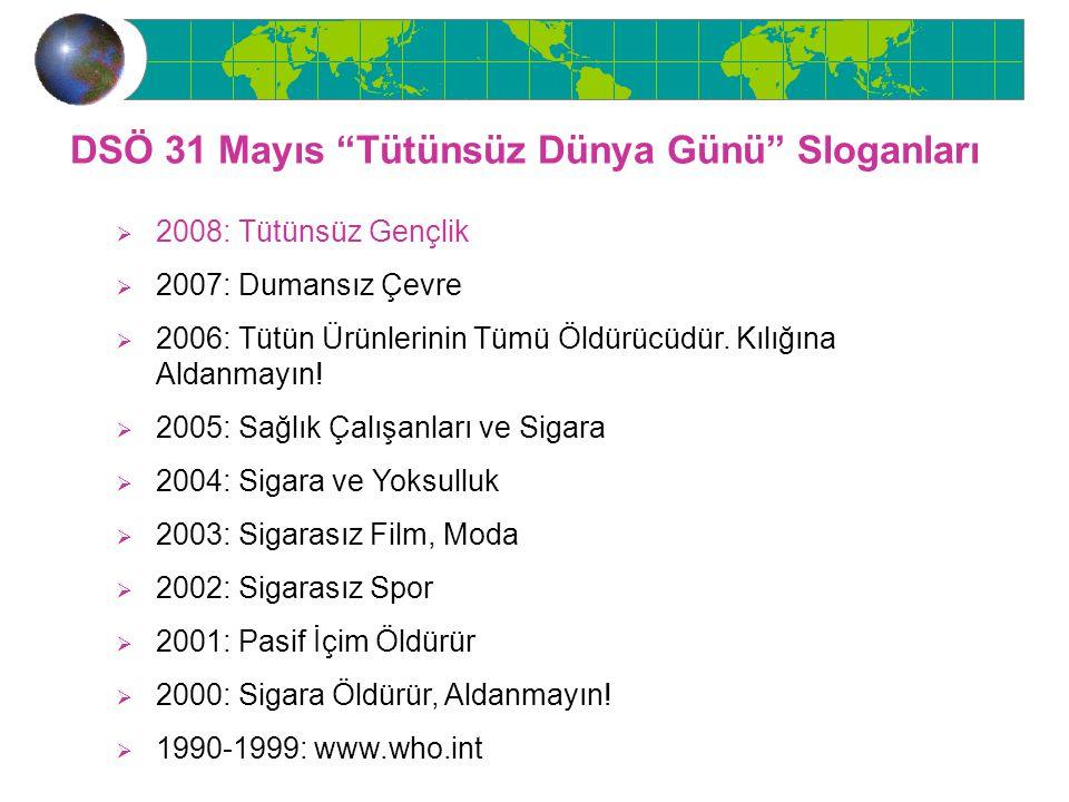 """DSÖ 31 Mayıs """"Tütünsüz Dünya Günü"""" Sloganları  2008: Tütünsüz Gençlik  2007: Dumansız Çevre  2006: Tütün Ürünlerinin Tümü Öldürücüdür. Kılığına Ald"""
