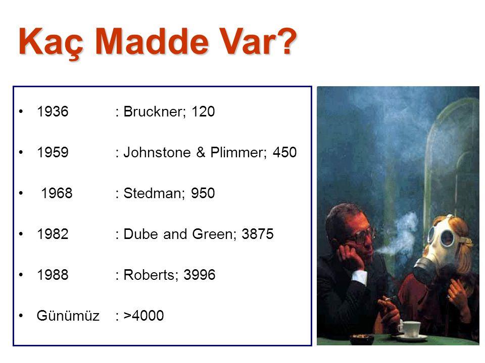 Kaç Madde Var? 1936: Bruckner; 120 1959: Johnstone & Plimmer; 450 1968: Stedman; 950 1982: Dube and Green; 3875 1988: Roberts; 3996 Günümüz: >4000