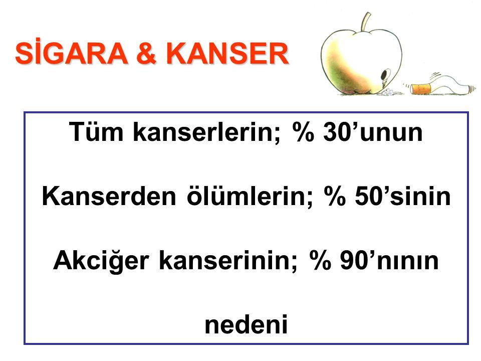 SİGARA & KANSER Tüm kanserlerin; % 30'unun Kanserden ölümlerin; % 50'sinin Akciğer kanserinin; % 90'nının nedeni