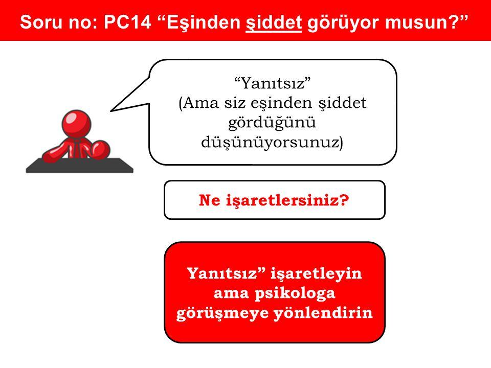 Soru no: PC14 Eşinden şiddet görüyor musun? Yanıtsız (Ama siz eşinden şiddet gördüğünü düşünüyorsunuz) Ne işaretlersiniz.