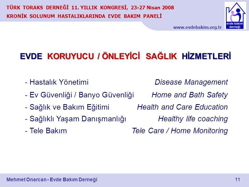 www.evdebakim.org.tr 11 TÜRK TORAKS DERNEĞİ 11. YILLIK KONGRESİ, 23-27 Nisan 2008 KRONİK SOLUNUM HASTALIKLARINDA EVDE BAKIM PANELİ Mehmet Onarcan - Ev