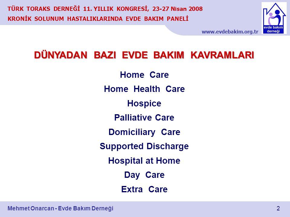 www.evdebakim.org.tr 2 TÜRK TORAKS DERNEĞİ 11. YILLIK KONGRESİ, 23-27 Nisan 2008 KRONİK SOLUNUM HASTALIKLARINDA EVDE BAKIM PANELİ Mehmet Onarcan - Evd