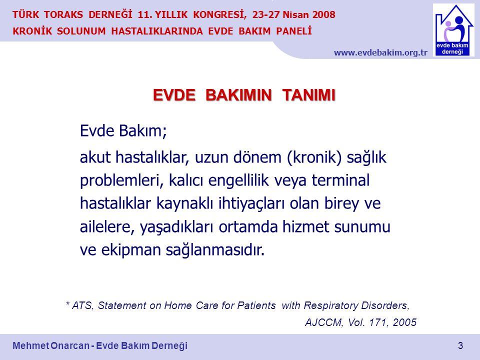 www.evdebakim.org.tr 3 TÜRK TORAKS DERNEĞİ 11. YILLIK KONGRESİ, 23-27 Nisan 2008 KRONİK SOLUNUM HASTALIKLARINDA EVDE BAKIM PANELİ Mehmet Onarcan - Evd