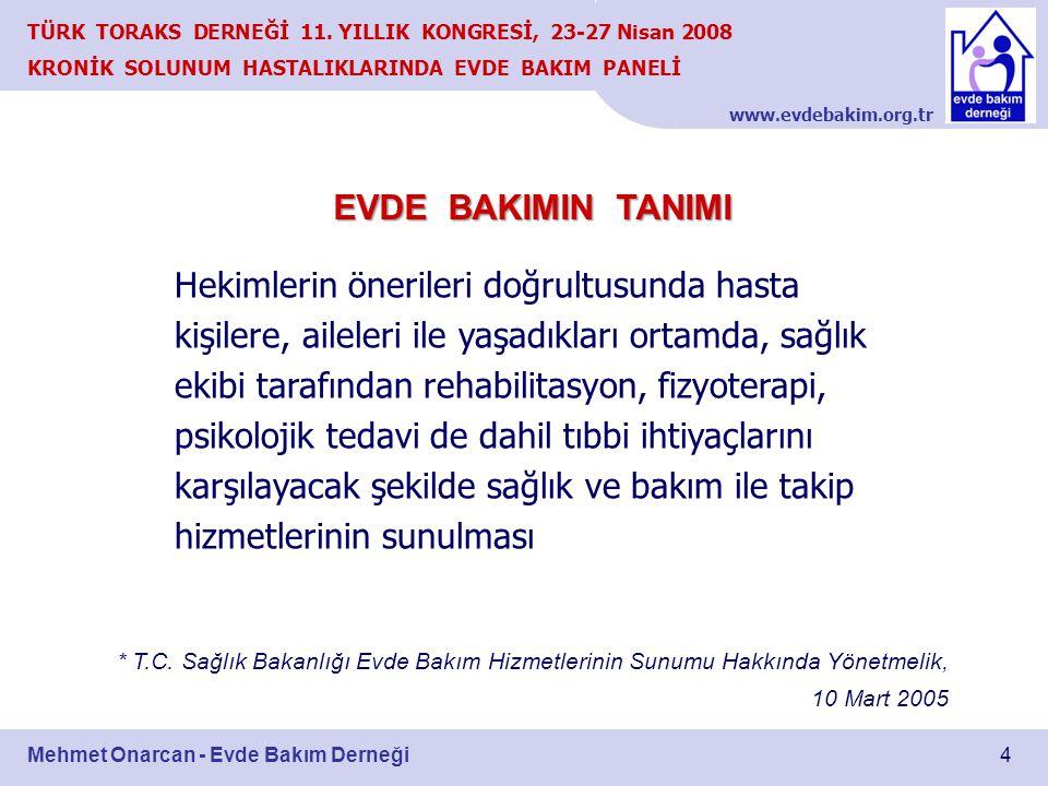 www.evdebakim.org.tr 4 TÜRK TORAKS DERNEĞİ 11. YILLIK KONGRESİ, 23-27 Nisan 2008 KRONİK SOLUNUM HASTALIKLARINDA EVDE BAKIM PANELİ Mehmet Onarcan - Evd