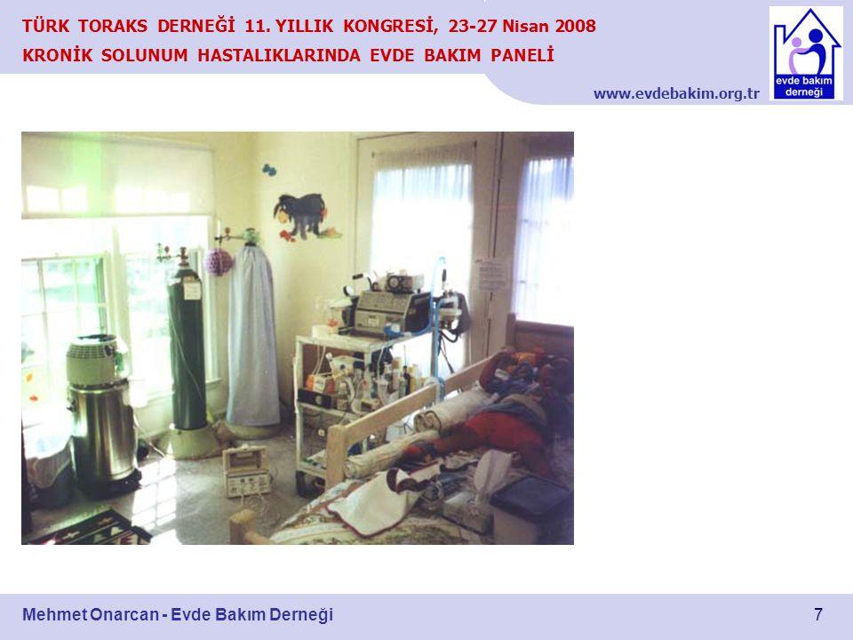 www.evdebakim.org.tr 7 TÜRK TORAKS DERNEĞİ 11. YILLIK KONGRESİ, 23-27 Nisan 2008 KRONİK SOLUNUM HASTALIKLARINDA EVDE BAKIM PANELİ Mehmet Onarcan - Evd
