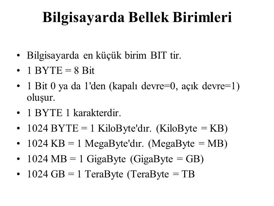 Bilgisayarda Bellek Birimleri Bilgisayarda en küçük birim BIT tir. 1 BYTE = 8 Bit 1 Bit 0 ya da 1'den (kapalı devre=0, açık devre=1) oluşur. 1 BYTE 1