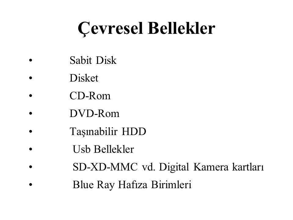 Çevresel Bellekler Sabit Disk Disket CD-Rom DVD-Rom Taşınabilir HDD Usb Bellekler SD-XD-MMC vd. Digital Kamera kartları Blue Ray Hafıza Birimleri