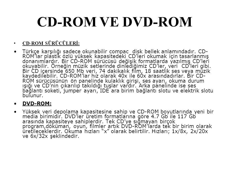 CD-ROM VE DVD-ROM CD-ROM SÜRÜCÜLERİ: Türkçe karşılığı sadece okunabilir compac disk bellek anlamındadır. CD- ROM'lar plastik özlü yüksek kapasitedeki