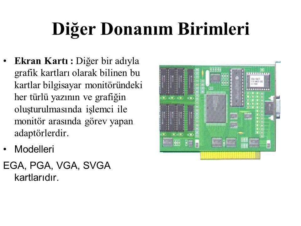 Diğer Donanım Birimleri Ekran Kartı : Diğer bir adıyla grafik kartları olarak bilinen bu kartlar bilgisayar monitöründeki her türlü yazının ve grafiği