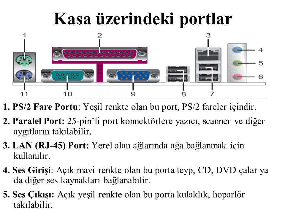 Kasa üzerindeki portlar 1. PS/2 Fare Portu: Yeşil renkte olan bu port, PS/2 fareler içindir. 2. Paralel Port: 25-pin'li port konnektörlere yazıcı, sca