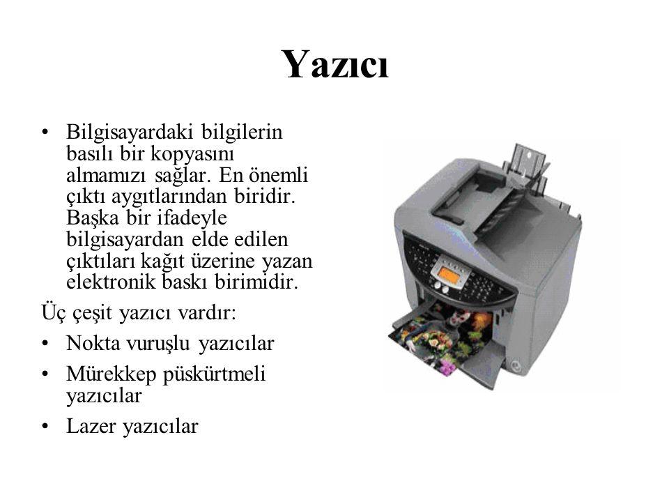 Yazıcı Bilgisayardaki bilgilerin basılı bir kopyasını almamızı sağlar. En önemli çıktı aygıtlarından biridir. Başka bir ifadeyle bilgisayardan elde ed