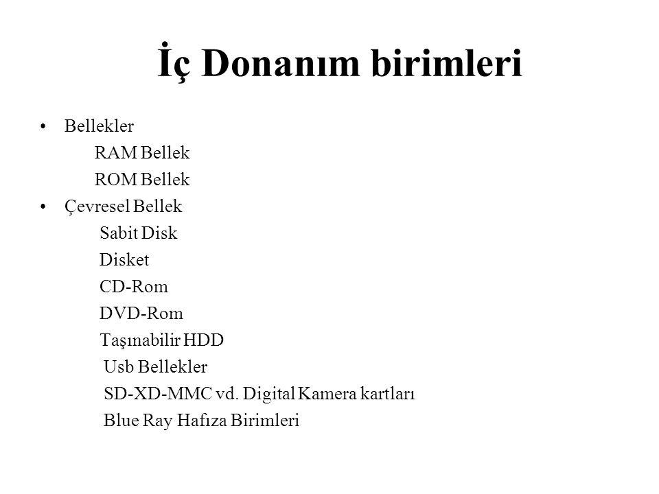 İç Donanım birimleri Bellekler RAM Bellek ROM Bellek Çevresel Bellek Sabit Disk Disket CD-Rom DVD-Rom Taşınabilir HDD Usb Bellekler SD-XD-MMC vd. Digi