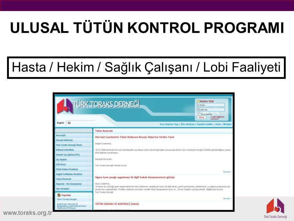 www.toraks.org.tr ULUSAL TÜTÜN KONTROL PROGRAMI Hasta / Hekim / Sağlık Çalışanı / Lobi Faaliyeti