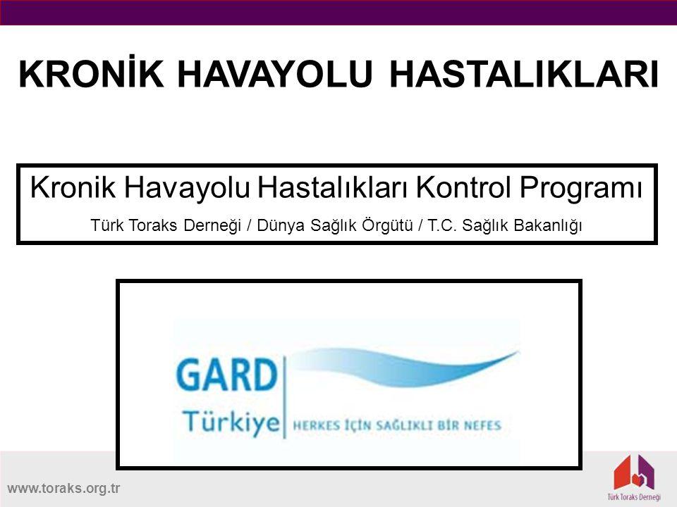 www.toraks.org.tr KRONİK HAVAYOLU HASTALIKLARI Kronik Havayolu Hastalıkları Kontrol Programı Türk Toraks Derneği / Dünya Sağlık Örgütü / T.C.