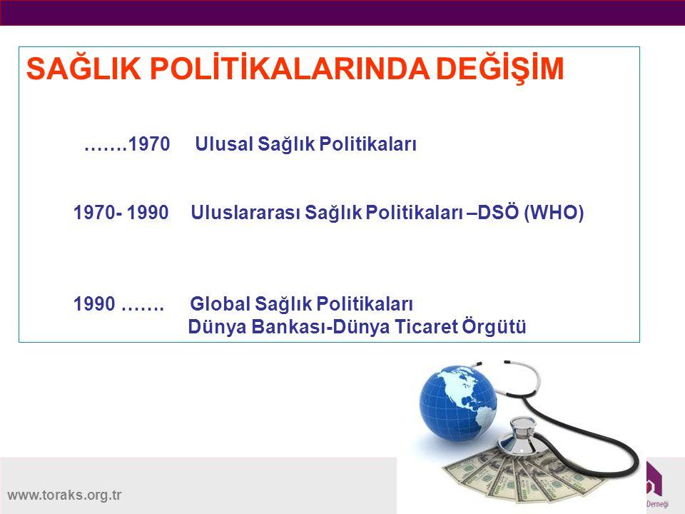 www.toraks.org.tr SAĞLIK POLİTİKALARINDA DEĞİŞİM …….1970 Ulusal Sağlık Politikaları 1970- 1990 Uluslararası Sağlık Politikaları –DSÖ (WHO) 1990 …….