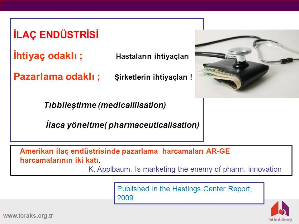 www.toraks.org.tr İLAÇ ENDÜSTRİSİ İhtiyaç odaklı ; Hastaların ihtiyaçları Pazarlama odaklı ; Şirketlerin ihtiyaçları .
