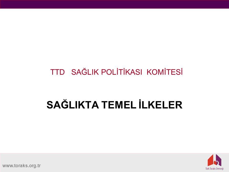 www.toraks.org.tr TTD SAĞLIK POLİTİKASI KOMİTESİ SAĞLIKTA TEMEL İLKELER