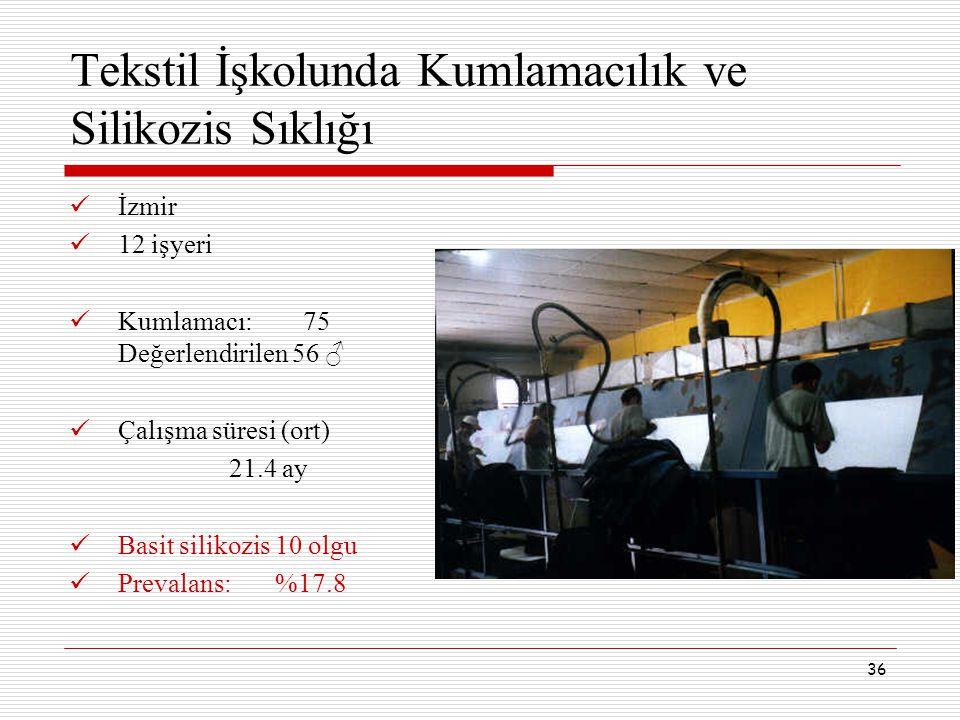 36 Tekstil İşkolunda Kumlamacılık ve Silikozis Sıklığı İzmir 12 işyeri Kumlamacı: 75 Değerlendirilen 56 ♂ Çalışma süresi (ort) 21.4 ay Basit silikozis