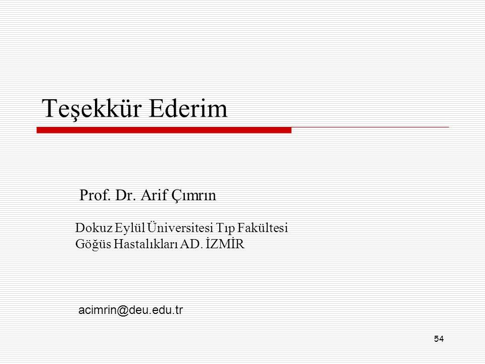 54 Teşekkür Ederim Prof. Dr. Arif Çımrın Dokuz Eylül Üniversitesi Tıp Fakültesi Göğüs Hastalıkları AD. İZMİR acimrin@deu.edu.tr