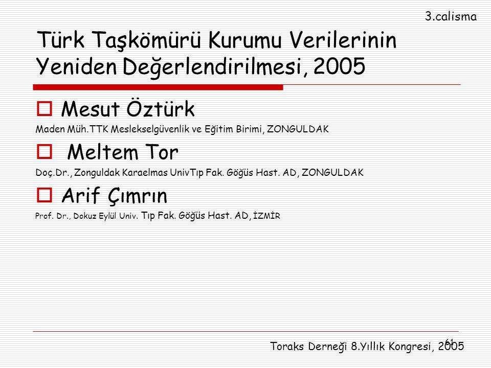 61 Türk Taşkömürü Kurumu Verilerinin Yeniden Değerlendirilmesi, 2005  Mesut Öztürk Maden Müh.TTK Meslekselgüvenlik ve Eğitim Birimi, ZONGULDAK  Melt