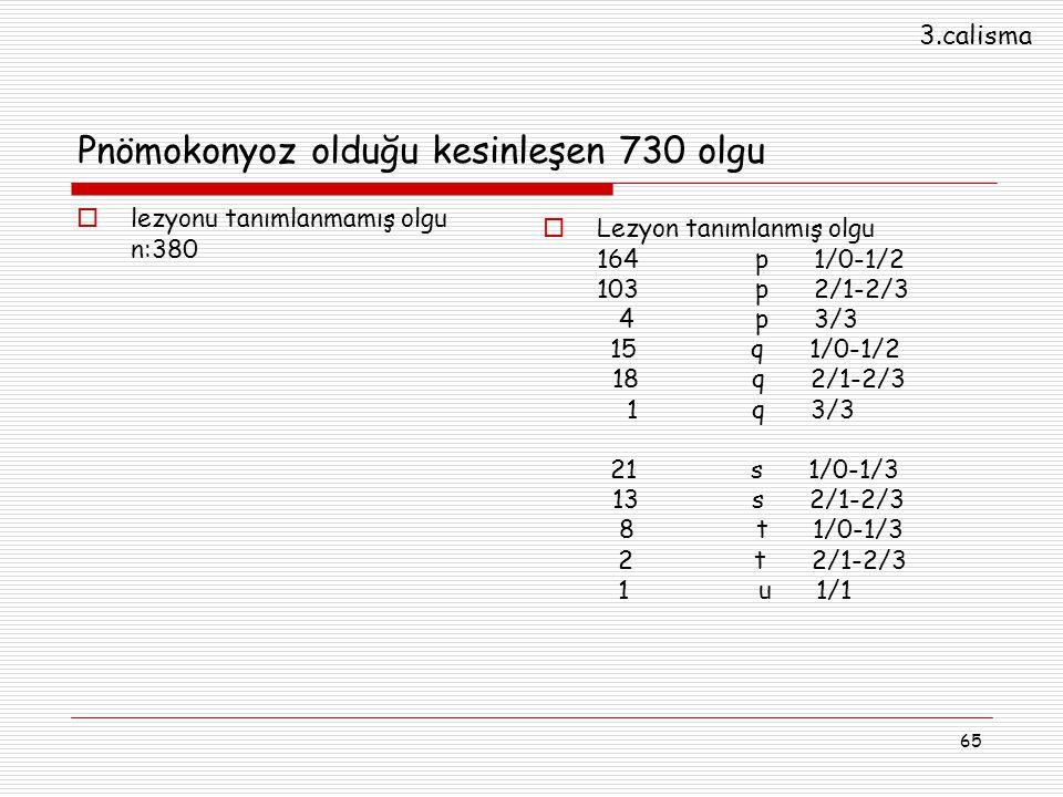 65 Pnömokonyoz olduğu kesinleşen 730 olgu  lezyonu tanımlanmamış olgu n:380  Lezyon tanımlanmış olgu 164p 1/0-1/2 103 p 2/1-2/3 4 p 3/3 15 q 1/0-1/2