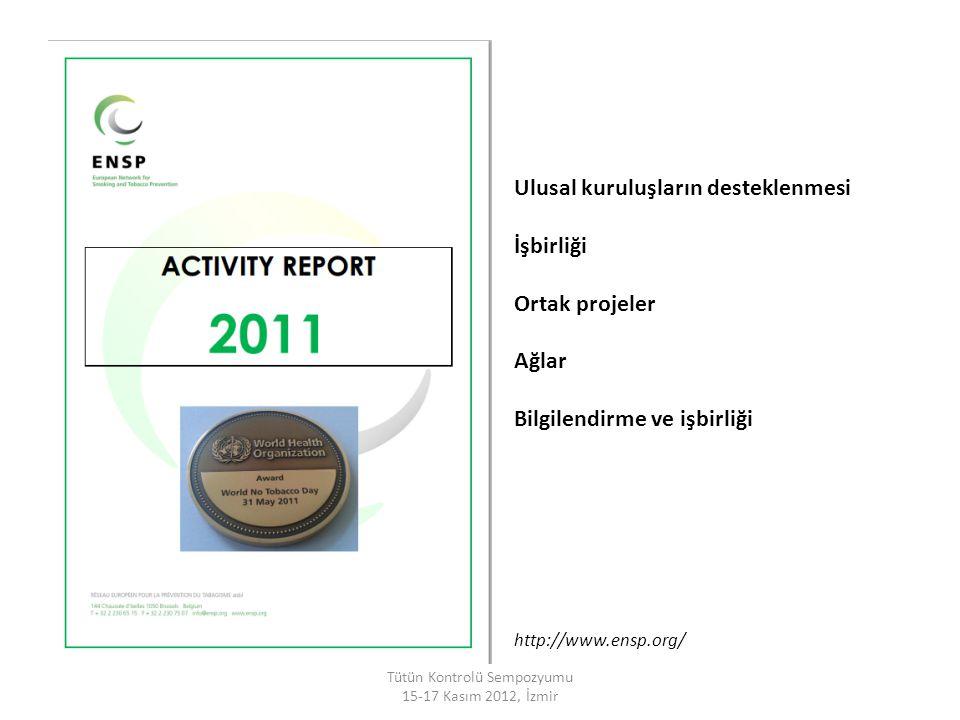 Ulusal kuruluşların desteklenmesi İşbirliği Ortak projeler Ağlar Bilgilendirme ve işbirliği Tütün Kontrolü Sempozyumu 15-17 Kasım 2012, İzmir http://w