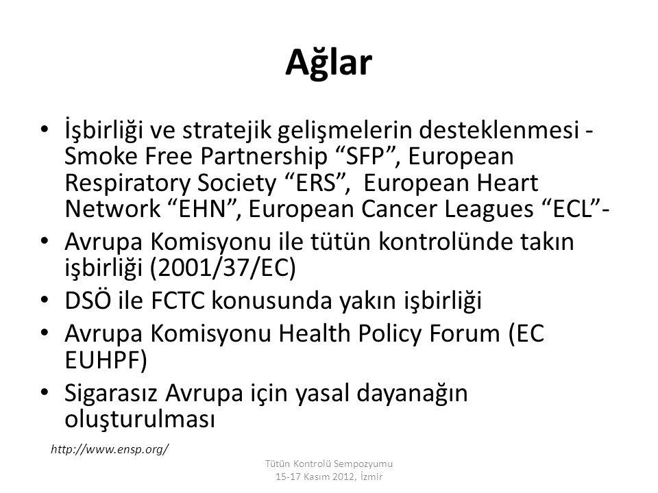 """Ağlar İşbirliği ve stratejik gelişmelerin desteklenmesi - Smoke Free Partnership """"SFP"""", European Respiratory Society """"ERS"""", European Heart Network """"EH"""