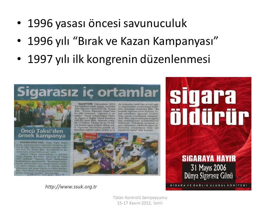"""1996 yasası öncesi savunuculuk 1996 yılı """"Bırak ve Kazan Kampanyası"""" 1997 yılı ilk kongrenin düzenlenmesi Tütün Kontrolü Sempozyumu 15-17 Kasım 2012,"""