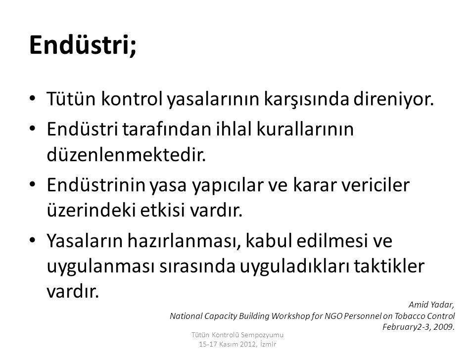 Endüstri; Tütün kontrol yasalarının karşısında direniyor. Endüstri tarafından ihlal kurallarının düzenlenmektedir. Endüstrinin yasa yapıcılar ve karar