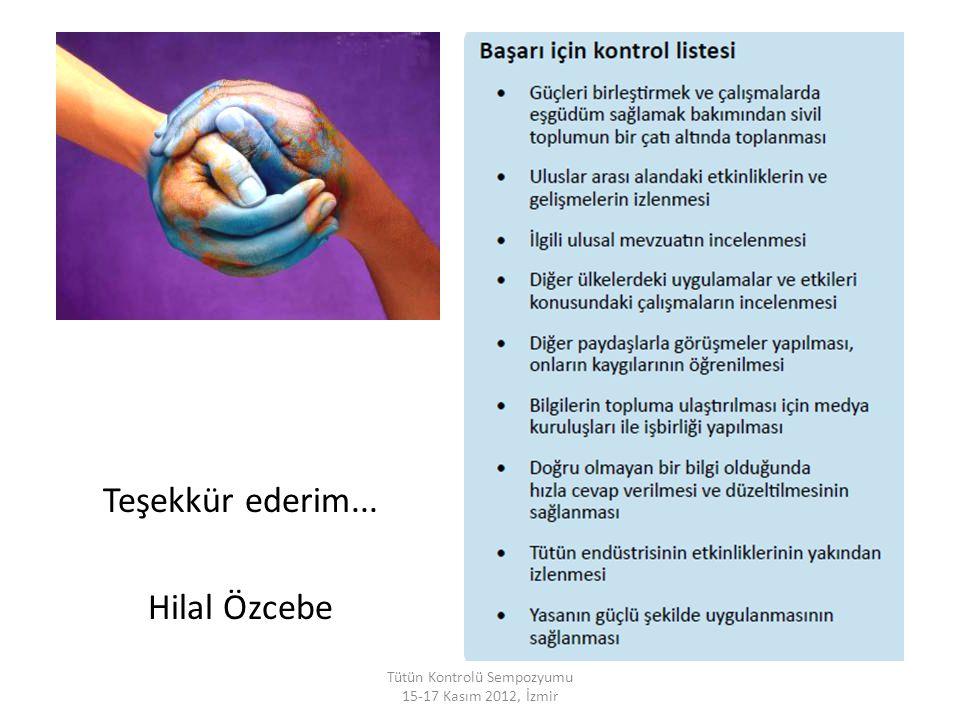 Tütün Kontrolü Sempozyumu 15-17 Kasım 2012, İzmir Teşekkür ederim... Hilal Özcebe