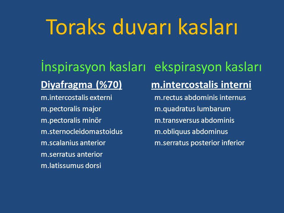 Toraks duvarı kasları İnspirasyon kaslarıekspirasyon kasları Diyafragma (%70) m.intercostalis interni m.intercostalis externim.rectus abdominis intern