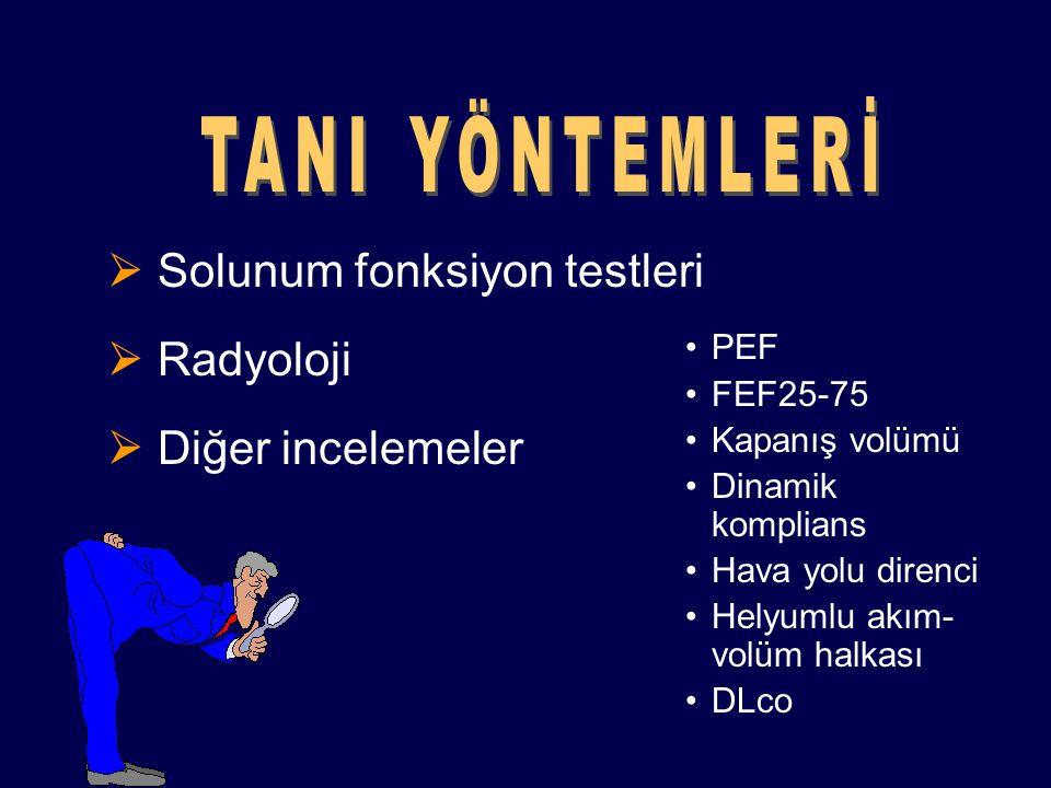 Solunum fonksiyon testleri  Radyoloji  Diğer incelemeler PEF FEF25-75 Kapanış volümü Dinamik komplians Hava yolu direnci Helyumlu akım- volüm halk