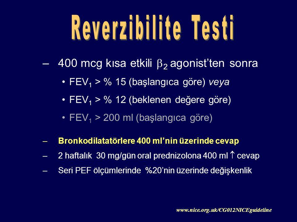 –400 mcg kısa etkili  2 agonist'ten sonra FEV 1 > % 15 (başlangıca göre) veya FEV 1 > % 12 (beklenen değere göre) FEV 1 > 200 ml (başlangıca göre) –B