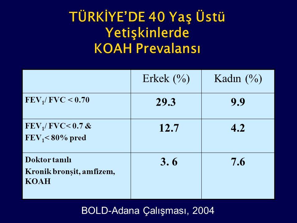 Erkek (%)Kadın (%) FEV 1 / FVC < 0.70 29.39.9 FEV 1 / FVC< 0.7 & FEV 1 < 80% pred 12.74.24.2 Doktor tanılı Kronik bronşit, amfizem, KOAH 3. 67.67.6 TÜ