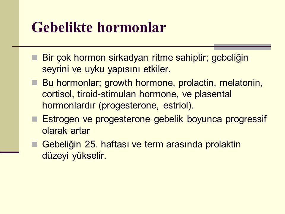 Estrogen REM uykusunu azaltmaktadır ancak plasental estrogen (estriol) ovarian forma göre daha zayıf etkilidir.