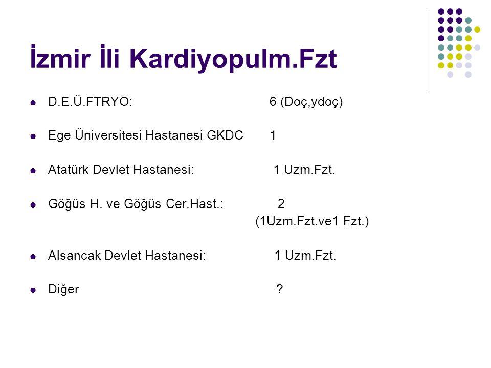 İzmir İli Kardiyopulm.Fzt D.E.Ü.FTRYO: 6 (Doç,ydoç) Ege Üniversitesi Hastanesi GKDC 1 Atatürk Devlet Hastanesi: 1 Uzm.Fzt. Göğüs H. ve Göğüs Cer.Hast.
