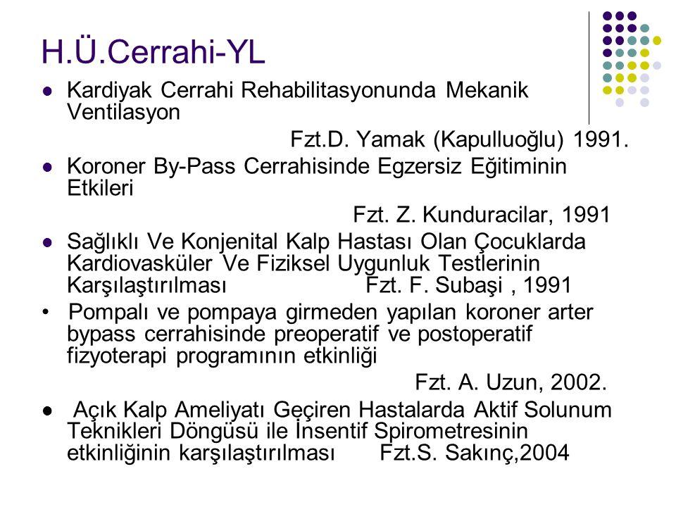 H.Ü.Cerrahi-YL Kardiyak Cerrahi Rehabilitasyonunda Mekanik Ventilasyon Fzt.D. Yamak (Kapulluoğlu) 1991. Koroner By-Pass Cerrahisinde Egzersiz Eğitimin