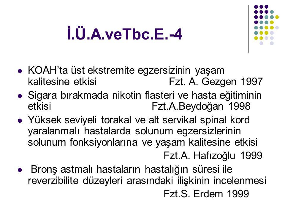 İ.Ü.A.veTbc.E.-4 KOAH'ta üst ekstremite egzersizinin yaşam kalitesine etkisi Fzt. A. Gezgen 1997 Sigara bırakmada nikotin flasteri ve hasta eğitiminin