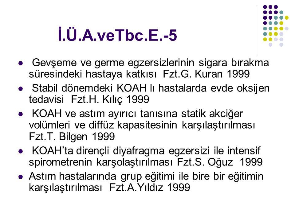 İ.Ü.A.veTbc.E.-5 Gevşeme ve germe egzersizlerinin sigara bırakma süresindeki hastaya katkısı Fzt.G. Kuran 1999 Stabil dönemdeki KOAH lı hastalarda evd