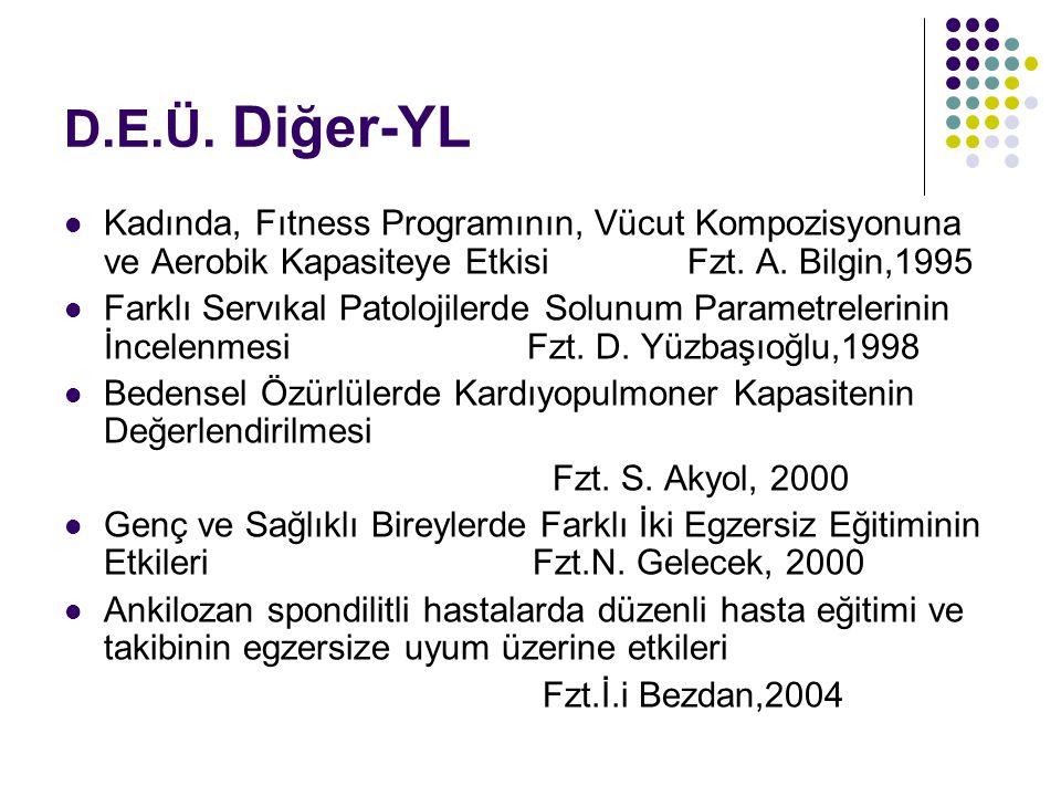 D.E.Ü. Diğer-YL Kadında, Fıtness Programının, Vücut Kompozisyonuna ve Aerobik Kapasiteye Etkisi Fzt. A. Bilgin,1995 Farklı Servıkal Patolojilerde Solu
