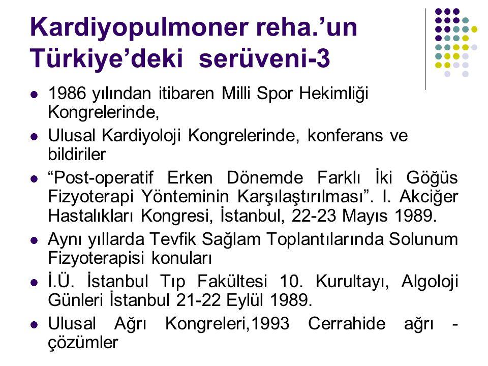 Kardiyopulmoner reha.'un Türkiye'deki serüveni-3 1986 yılından itibaren Milli Spor Hekimliği Kongrelerinde, Ulusal Kardiyoloji Kongrelerinde, konferan