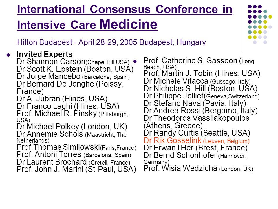 International Consensus Conference in Intensive Care Medicine Hilton Budapest - April 28-29, 2005 Budapest, Hungary Invited Experts Dr Shannon Carson