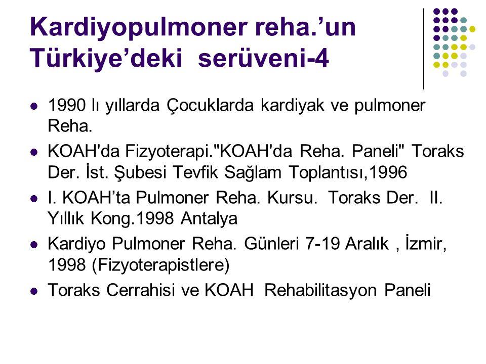 Kardiyopulmoner Alanda Yapılan Mezuniyet Sonrası Eğitim-Sayılar Hacettepe Üniversitesi H.Ü.Sağlık Bilimleri Enst.YL-D(1967-)(27) İstanbul Üniversitesi A- İ.Ü.Kardiyoloji Enst.YL-D (1985- ) (25) B- İ.Ü.Akc.-Tbc Enst.YL(1993-2002) (26) C- İ.Ü.Sağlık Bilimleri Enst.YL-D (1982+1993-94 diğer (3) Dokuz Eylül Üniversitesi DEÜ Sağlık Bilimleri Enst.YL-D (1993-) (18) Pamukkale Ü.