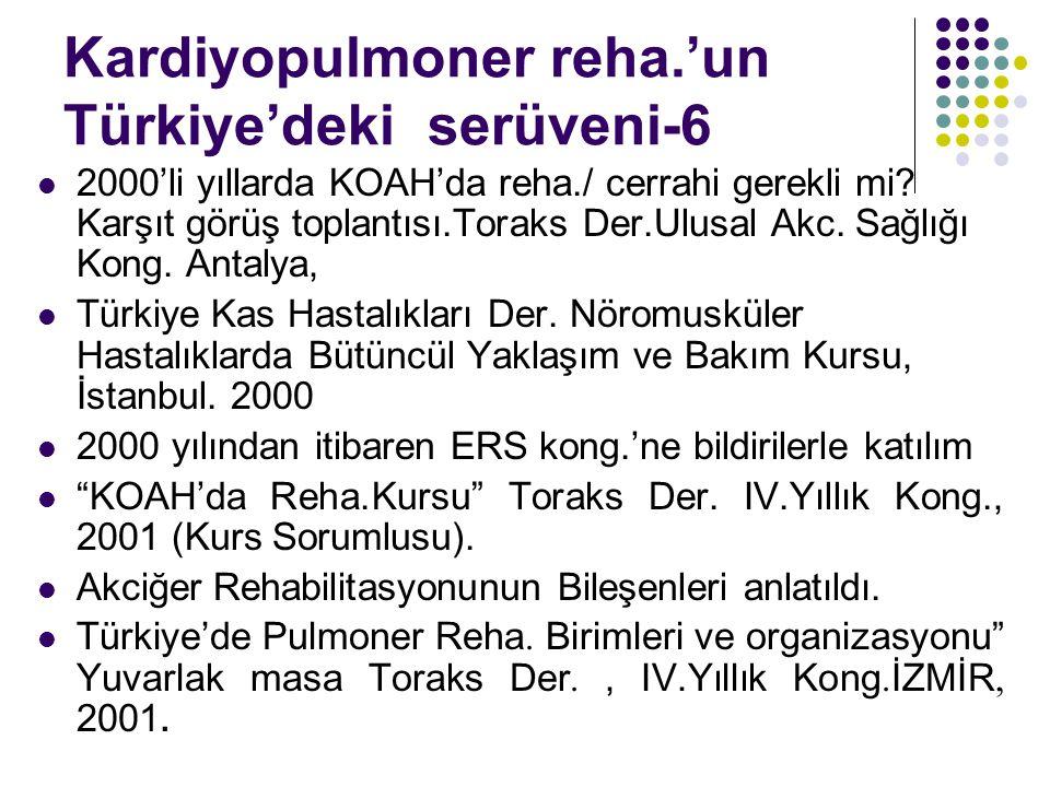 Kardiyopulmoner reha.'un Türkiye'deki serüveni-6 2000'li yıllarda KOAH'da reha./ cerrahi gerekli mi? Karşıt görüş toplantısı.Toraks Der.Ulusal Akc. Sa