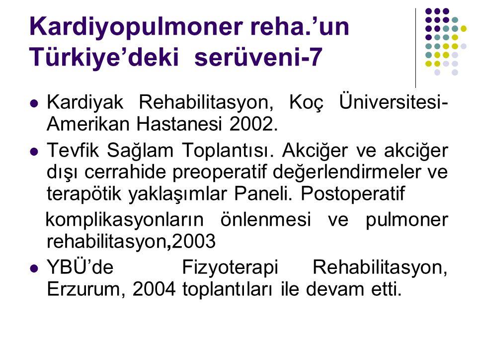 Kardiyopulmoner reha.'un Türkiye'deki serüveni-7 Kardiyak Rehabilitasyon, Koç Üniversitesi- Amerikan Hastanesi 2002. Tevfik Sağlam Toplantısı. Akciğer