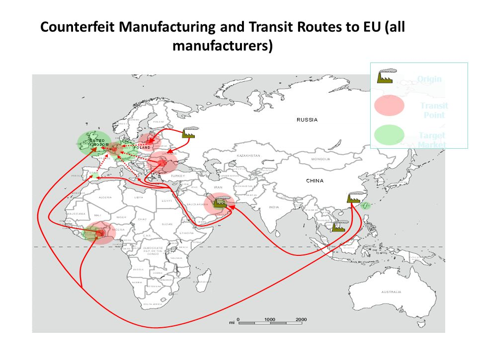 Counterfeit Manufacturing and Transit Routes to EU (all manufacturers) Transit Point Target Market Origin