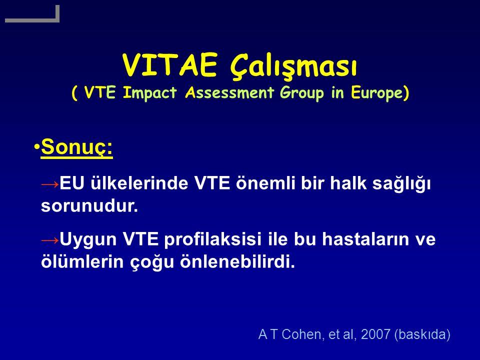 VITAE Çalışması ( VTE Impact Assessment Group in Europe) Sonuç: →EU ülkelerinde VTE önemli bir halk sağlığı sorunudur. →Uygun VTE profilaksisi ile bu